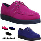 10839 Womens Flat Sole Creeper Goth Punk Shoes 2 Eyelet Round Toe Lace Up Ladies