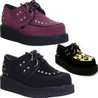 Womens Brothel Creeper Goth Punk Chic Platform Lace Up 2 Eyelet Studd Ladies Sho