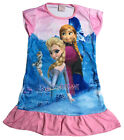 Disney Elsa Anna Olaf Children Kids Girls Pyjama Nightgown Dress Pink 3-10 Year