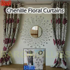 New Floral Chenile Curtains Quality Lined Inside Blue or Red Lounge Bedroom pati
