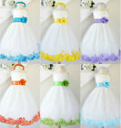 Gorgeous Ivory turquoise blue lilac orange rose petals flower girl party dress