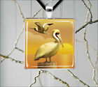 BIRD PELICAN SUNSET GOLD AMBIANCE PENDANTS NECKLACE  -f4p3t