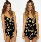 Women Sexy Vintage Straps Sunflower Print Jumpsuit Hot Pants Playsuit Shorts W
