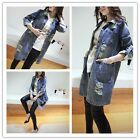 Women Spring Summer Long Jeans Jacket Casual Clothes Full Sleeve Cardigan Coat