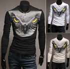 POP Men's Round Neck Owl Animal Long Sleeve Casual Slim Fit Tee T Shirt TopsCALO