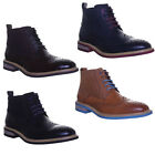 Justin Reece Mens Coloured Sole Lace Up Brogue Ankel Boot Designer Look Size UK