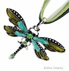 Fashion Jewerly Colourful Rhinestone Dragonfly Charm Necklace Pendant With Chain
