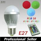 E27/E14/B22 LED RGB 3W Color Change Lamp Light Bulb+24 key IR Remote Controller