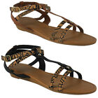 NEW WOMENS LADIES ANKLE STRAPPY SUMMER FLAT FASHION SHOES SANDALS BIG SIZES 3-9