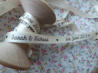 5m Personalised Wedding ribbon IvoryorWhite 9mm wide Personalised with Name&Date