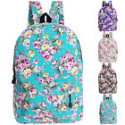 New Flowers Pattern Womens Canvas Backpack School Bag Travel Rucksack Bookbags