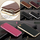 Luxury Real Leather Back Metal/Aluminum Frame Case Cover For iPhone 6 6 Plus CLB