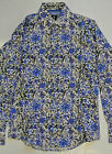 RARE! MENS FLORAL PRINT 1 LIKE NO OTHER MOD 60s SHIRT BLUE -SIZE 2 (medium) -f11