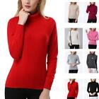 Womens Jumper Ladies Knit Pullover Wool Casual High Neck Cashmere Sweater Size