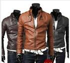 Male's 3 color Designed PU Leather Short Slim Fit Top Jacket Coat Outerwear Sexy