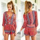 Women Lady Bohemia Patterned Celeb V-Neck Summer Casual Playsuit Romper Jumpsuit