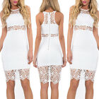 Lace Hollow-out Sexy Mini Vintage party Bodycon ladies O-neck Sleeveless Dresses