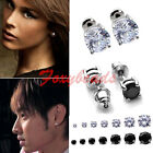 2X 18K White Gold Plated Clear/Black Round CZ Crystal Women Men Ear Stud Earring