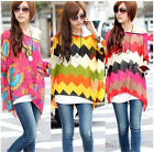 Large Size Women Loose Bat Long Sleeve Chiffon Shirt Bohemian Summer top Blouse