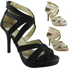 NEW WOMENS LADIES CUTOUT PARTY BRIDAL HIGH HEEL CASUAL FASHION SIZE 3-8 UK