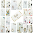 3D Bling Handmade Diamonds Wallet PU Leather Flip Case Cover For HTC