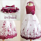 Gorgeous Burgundy wine wedding flower girl party dress all sizes FREE HEADPIECE