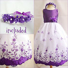 Gorgeous Purple Lapis wedding flower girl party dress all sizes FREE HEADPIECE