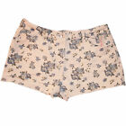 Ladies Blue Floral Cream Denim Shorts Summer Ripped Hem Hot Pants Soft Cotton