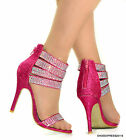 LADIES NEW PINK SHIMMER DIAMANTE ANKLE STRAP  BRIDAL SANDALS SHOES SIZE 3-8