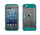 iPod Touch 5th 6th GEN Gray Circular Design RKR Hard&Silicone Rugged Case Cover
