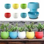 1~5pcs Mini Colourful Round Plastic Plant Flower Pots Home Office Decor Planter