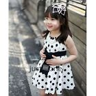 White Toddler Baby Girls Kids Princess Pageant Party Dress Dots Dresses 3-8Years