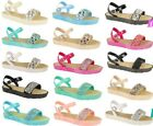 Ladies Women Flats Platform Ankle Diamante Strap Summer Jelly Sandals Shoes Size