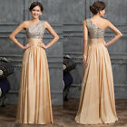 Vintage One Shoulder Sexy Beads Evening Party Wedding Gown Graduation Prom Dress