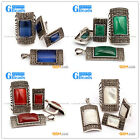 Rectangle Vintage Tibetan Silver Marcasite Party Jewerly Earrings Ring Pendant