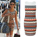 Michelle Keegan Aztec Print Lace Bodycon Dress Sleeveless Chic Black Beige Rust