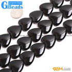 "Heart Shape Black Agate Gemstone Loose Beads Strand 15""Free Shipping"