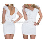 Sexy Sleeveless V-neck White Flounce Lace Sheath Party Club Mini Dress Clubwear