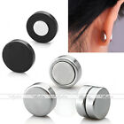 2pc Steel Fake 0g 00g Magnetic Earrings Ear Studs Clip On Non Piercing Jewelry