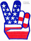 AMERICAN FLAG VICTORY FINGERS PEACE SIGN PATCH HIPPIE 1960s SYMBOL NEW APPLIQUE
