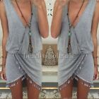 Sexy Women Boho Summer Casual Sleeveless V-Neck Party Evening Dress Beach Dress