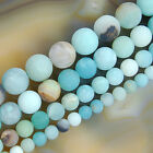 16inches Frosted Blue Amazonite Round Gems Beads 6mm 8mm 10mm 12mm