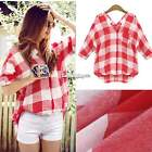 Fashion Girls Women's Loose Blouse Shirt Casual V-Neck Medium Sleeve Plaid Tops