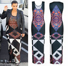 Womens Floral Mosaic Geometric Printed Maxi Dress Racer Back Long Casual Trendy