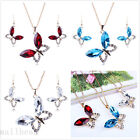 New Crystal Butterfly Bib Choker Chain Charm Statement Pendant Necklace Collar