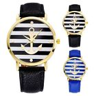 PU Leather Strap Men Women Anchor Striped Analog Quartz Sport Wrist Watches L35