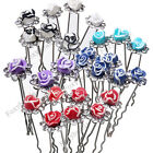 10p Fimo Rhinestone Rose Flower Wedding Party Bridal Hairpin Hair Clip Accessory