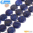 Blue Lapis Lazuli Gemstone Coin Flat Beads For Jewelry Making Free Shipping 15""