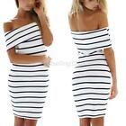 Sexy Womens Off Shoulder Slash Neck Sleeveless Casual Party Stripe Dress  B59