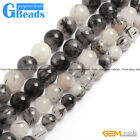 Round Gemstone Black Rutilated Quartz Beads Jewelry Making Loose Beads Strand 15
